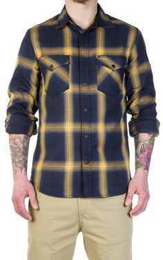 RAW Denim, Shoes and Accessories Online · CULTIZM Online-Shop - Shady Checked Shirt Yellow Wrenchmonkees Shady Checked Shirt Yellow WMAC#119-yellow