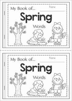 My Book of... Spring Words. A half-page vocabulary booklet to make learning new words fun! Great for a Spring writing center!
