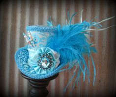 Ice Blue Mini Top Hat Mad hatter Hat Alice in by ChikiBird on Etsy, $62.00