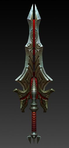 Billy: This weapon looks powerful and has an engraving that gives an overall feel for the sword. Cosplay Weapons, Anime Weapons, Weapons Guns, Katana, Fantasy Sword, Fantasy Weapons, Fantasy Armor, Cool Swords, Sword Design