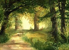 Sunny path  I painted this watercolor in 2012. Its one of three paintings of paths I did at that time. It shows calm, sunny path among trees. Very
