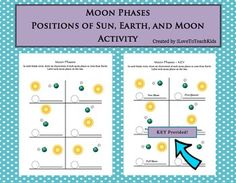 A great resource to visually represent the positions of the Sun, Earth, and Moon when teaching the different phases of the moon in Earth Science or Astronomy class.A key is included.SAVE $$$ and purchase the BUNDLE for Moon Phases (9 activities)BUNDLE Moon Phases Pack of 9 Activities