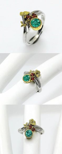 Genuine Emerald Ring May Birthstone, two tone silver branch ring, flower ring, garnet ring, anniversary birthday gifts for wife big sister  This is an impressive ring in floral style with two genuine gemstones: green emerald and red garnet. They are May and January birthstones. The twig branch has a tropical flower and leaves with incrusted gemstones framing the most incredible highest quality green emerald in round shape. The ring is 100% handmade! Made to bring joy and happiness.