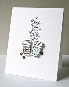 Lawn Fawn - Love You a Latte + coordinating dies _  cute CAS card by Shelly at Sweet Greetings: Coffee Lovers, bloghop!