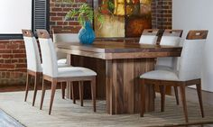 """Table Prestige Collection (top 1 ⅝"""") x Seats 6 to 8 people Solid Wood Furniture, Dining Room Furniture, Furniture Decor, Bar Stool, Chairs, Dining Table, Studios, Inspiration, People"""