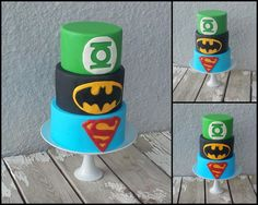 #Super #Hero #Cake  #Superheroes Cake  #Green Lantern, #Batman, #Superman