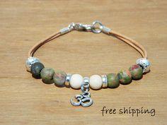 Bracelet  for men,Unisex bracelet,Unakite bracelet,Fossil bracelet,Om bracelet,Gemstone bracelet,Yoga bracelet,Leather bracelet,Energy
