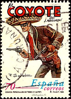 Spain.  COMIC STRIPS.  EL COYOTE BY JOSE MALLORQUI FIGUEROLA.  Scott  2999 A987 Issued 1999 June 11, Photo., Perf. 13 3/4,  70. /ldb. Jonah Hex, Lone Ranger, Comic Strips, Blueberry, Spain, Artwork, Movie Posters, The World, Childhood
