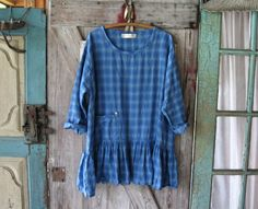 linen tunic in blue plaid ready to ship