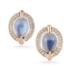 EMMA HARPER: Oval Moonstone and Diamonds Earrings in Rose Gold