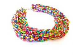 seed bead necklace | Multicolored Seed Bead Chunky Necklace, Multistrand Beaded Necklaces ...