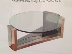 "DAVID DUNCAN // Contemporary Design Round Coffee Table -Item# 4543 // 17.25""h x 45""d // $11,000 // available immediately // available for rent approx 15% of price // db ** New Treatment of table top needed, instead of glass***"