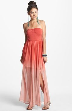 Fire Strapless Print Chiffon Maxi Dress (Juniors) (Online Only) available at #Nordstrom