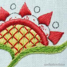 Embroidery with satin stitch and floche.  Ideas and reasons for keeping notes or a notebook.