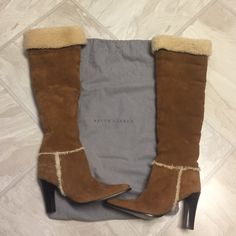 """NWOT Vintage Ralph Lauren Leather Boots NWOT, NEVER WARN. Leather upper, lining and sole. About 10 years old (""""vintage""""), discontinued style. Received as gift and never used. Great condition. Still in original gift bag. Will take realistic offers. Ralph Lauren Shoes Heeled Boots"""