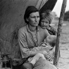 Photography of Florence Owens Thompson, known as Migrant Mother, Pea-Pickers…