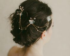 Freshwater Pearl, Tulle and Silk Petal Gold Headpiece, Foxglove