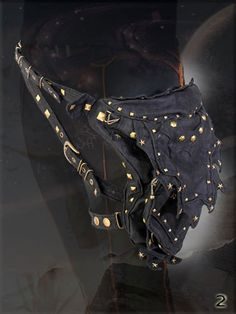 Abracadabra ~ utility pocket Hip Belt with Rivets for burning man playa wear cyber steampunk wardrobe accessory.