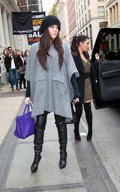 Khloe Kardashian. Love the poncho!