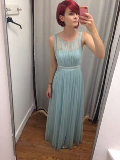 8847ac70f0ec Pale mint dress from Debut @ Debenhams with velvet belt and sheer effect on  top.