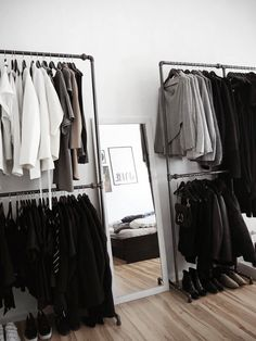 building a wardrobe with rackbuddy wardrobes and clothing rails creative clothing stocking source # Wardrobe Room, Build A Wardrobe, Walk In Wardrobe, Walk In Closet, Minimalist Closet, Minimalist Home, Bedroom Inspo, Bedroom Decor, Wardrobe Organisation