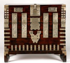 "19th century North Korean Chest with stand at the Philadelphia Museum of Art, Philadelphia - From the curators' comments: ""The Korean name bandaji (literally meaning ""half closing"") derives from the hinged door in the front of this chest. This type of chest was one of the most essential, and most commonly found, pieces of furniture in a Korean household. Clothes would be stored inside while folded blankets would be placed on top."" Yes, this was made BEFORE the Korean War, but still!"