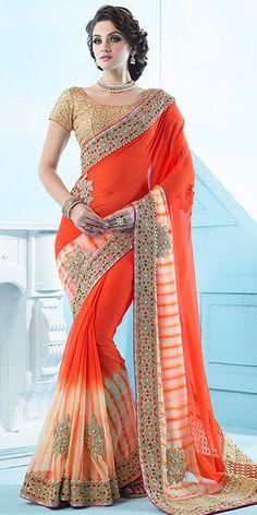 Classic Orange Chiffon Saree With Blouse.