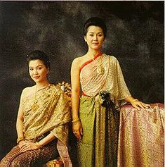 Ratanakosin      In central Thailand, during the early Ratanakosin era (approximately 150 years ago), court ladies liked to wear brocaded tube-skirts with front-pleated lengths of cloth. They also wore tube-skirts painted with gold leaf to indicate that they were of high royal rank. On top, the ladies wrapped a thin silk sabai, accordion pleated and worn off one shoulder as an inner garment, and covered this with a more elaborate wrap that was completely embroidered with gold and silver…