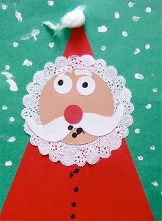"I love this kids christmas craft! Santa's mustache could be triangles and then he would be a ""shape santa"" from circles and triangles. Preschool Christmas, Noel Christmas, Christmas Crafts For Kids, Christmas Activities, Christmas Projects, Winter Christmas, Christmas Themes, Holiday Crafts, Holiday Fun"
