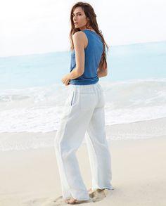 Wide-leg Striped Linen Trousers Poetry linen