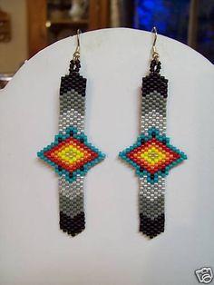 Native American Beaded Feathers Eye Earrings