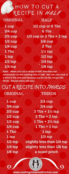 Cooking Tips: Find Out How To Cut a Recipe In Half and Into Thirds. Cut Recipe In Half, Half Recipe Chart, Half Cake Recipe, Kitchen Cheat Sheets, Paleo Diet Menu, Paleo Vegan, Kitchen Measurements, Recipe Measurements, Do It Yourself Food