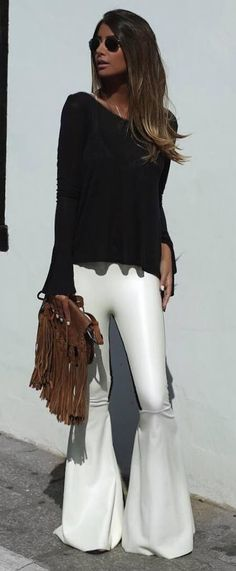 beautiful outfit one shoulder top + bag + pants