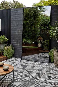 Landscape Design Dulwich Hill — Adam Robinson Design black & white tiled outdoor deck, outdoor mirror expands the view, black outdoor tile, Adam Robinson Design Small Space Gardening, Garden Spaces, Small Gardens, Outdoor Gardens, Modern Gardens, Small Courtyard Gardens, Small Backyard Gardens, Small Backyard Design, Modern Backyard