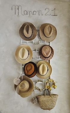Chez moi a collection display on the wall of my shop, ladies hats
