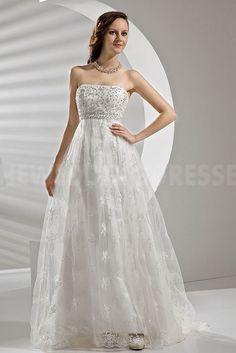 Ivory Satin Strapless Wedding Dresses - Order Link: http://www.theweddingdresses.com/ivory-satin-strapless-wedding-dresses-twdn3575.html - Embellishments: Beading; Length: Sweep/Brush Train; Fabric: Satin; Waist: Empire - Price: 147.124USD