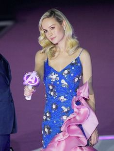Love Brie Larson wearing Rodarte's Hand Beaded Tulle and Organza Dress to the Avengers Endgame Premiere in Seoul (styled by Samantha McMillen, hair: Bryce Scarlett and makeup: Nina Park). Organza Dress, Brie Larson, Marvel Girls, Famous Women, Celebs, Celebrities, Beautiful Actresses, American Actress, Actors & Actresses