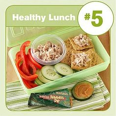 Healthy Lunch #5: Tuna Salad  Crackers with cucumber and red pepper slices. (use greek yogart instead mayo)