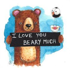 Original watercolor painting whimsical Bear Mother's Day i Love You beary much #IllustrationArt