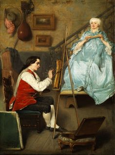 Young painter doing a portrait of a young woman in a blue silk dress (1854). Benjamin Eugène Fichel (French, 1826-1895). Oil on panel.The scene is in the artist's studio. The artist and the sitter wear clothing and have hair styles of the 18th century. On the rear wall is a lute, other paintings, and artist's props.