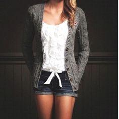 Weekend uniform - denim shorts, comfty cardi, and white cotton top. #hollister #westfieldpd