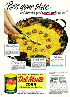 """1951 recipe from Del Monte for Pork Chops in the Corn  This 1951 recipe is basically a pork chop casserole.  Pork chop casserole? You're thinking, """"That's insane.""""  Actually, it's insanely delicious."""