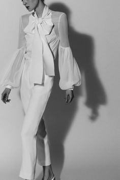 Upcoming Bridals Trends. Bridal separates. trousers and top by Carolina Herrera