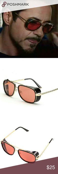 2bbcdd79a5e Iron Man Sunglasses movie star Gender - men Material - metal plastic Frame  color - black Lens color - pink Iron Man Accessories Sunglasses