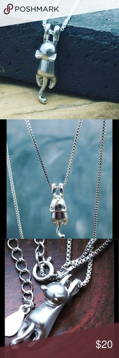 Sterling Silver hanging Kitty wet cat necklace This is the sweetest kitty necklace you've ever seen. Adorable little hanging cat on a 925 sterling silverSterling silver hanging Kitty super cute delicate necklace chain. This is a no brainerSterling silver hanging Kitty super cute delicate necklace.  This necklace will make a great gift too. Matana Jewelry Necklaces