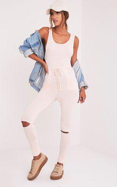 Taran Nude Slit Knee Runner Style Jumpsuit - Jumpsuits & Playsuits - PrettylittleThing   PrettyLittleThing.com