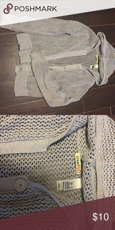 Grey knit button up hoodie Gently worn no flaws Stamp 10 Sweaters Cardigans