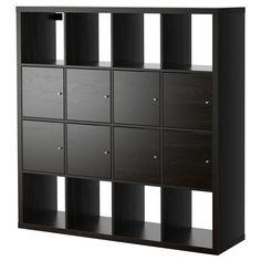 "KALLAX Shelf unit with 8 inserts (doors) - black-brown, 57 7/8x57 7/8 "" - IKEA depth is 15 3/8 $259 saw online 2-7-15"