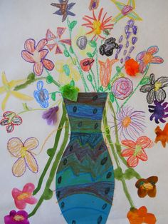 The Elementary Art Room!: Kindergarten  spray paint over flowers with watercolor