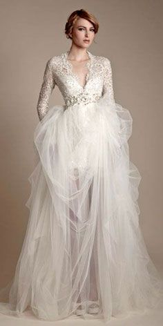 Loving the classic look of a wedding dress with sleeves